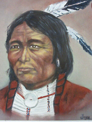 VINTAGE 70s portrait original hand painted oil PAINTING Native American Indian