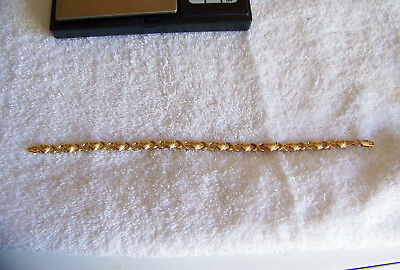 10K Yellow Gold Heart And X Bracelet - Very Good Condition - 5.0 Grams - 8""