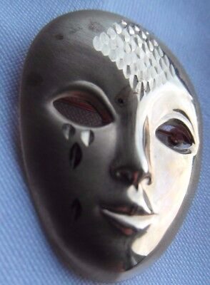 9ct gold fully hallmarked brooch ,mask, theatre.