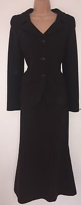 Lovely 100% Virgin Wool Fully Lined Long Skirt Suit By Hobbs Size 10