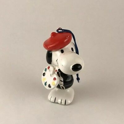 Vintage 60's Snoopy French Artist/Palette Ceramic Christmas Ornament Japan WOW~!