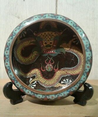 Antique Chinese Imperial dragon cloissone dish