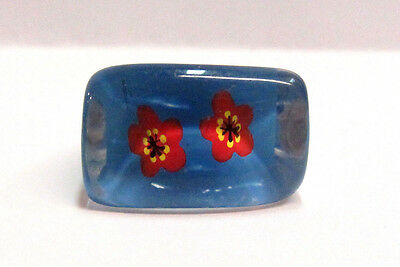 Vintage Collectible Reverse Painted Blue Lucite Ring