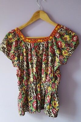 Vintage Floral Top with Embroidered Ribbon Trim XS 6 8