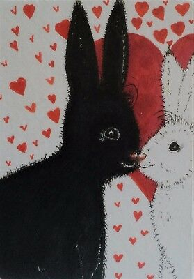 Aceo/NFAC/OCT/Rabbits/bunnies//black/white/