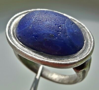 MASSIVE ** ROMAN SILVER RING ** WITH HUGE BLUE INTAGLIO GEM 16,97 g WOW