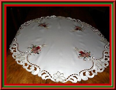 Small Round Christmas Holiday Tablecloth Or Topper With Embroidery & Cutwork