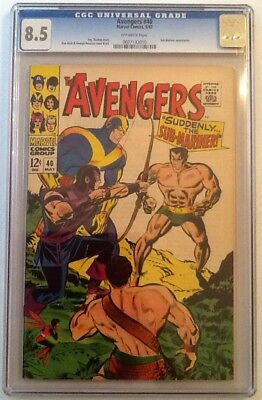 Avengers #40 CGC 8.5 VF+ OW Pages 1967 Sub-Mariner Hawkeye
