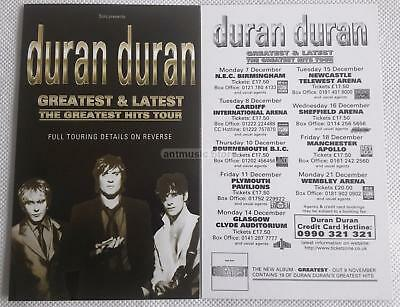 Duran Duran Greatest & Latest The Greatest Hits Tour A6 Double Sided Flyers