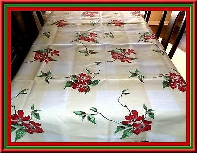Fabulous Vintage Unused Print Cotton Sailcloth Tablecloth With Red Flowers