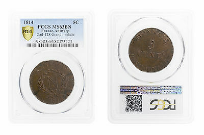 5 Cent Anvers / Antwerp Grand Module 1814 Pcsg Ms63Bn Napoleon Extremely Rare