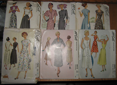 6 - 1947, 1948, 1949, & 1950 McCALL PATTERNS SIZES 9, 12, 13, & 42 BUST SIZE