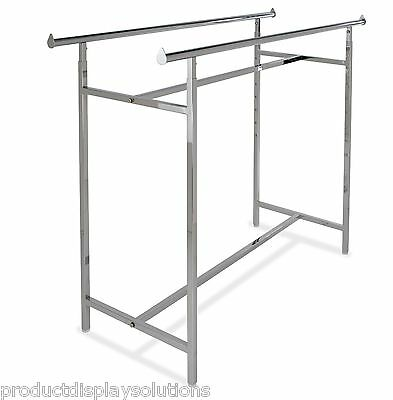 "Commercial Grade Clothing Double Bar H Rack | Adjustable Height 48""-72"" 