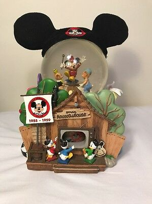 Walt Disney Mickey Mouse Club Throughout The Years Large Snow Globe Dome RARE
