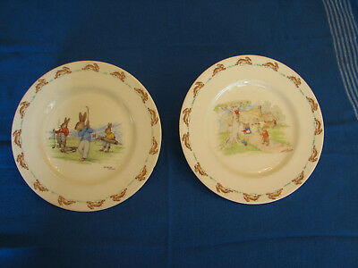 Royal Doulton Barbara Vernon BUNNYKINS Pairs of  Plates Golf and cottage AS IS