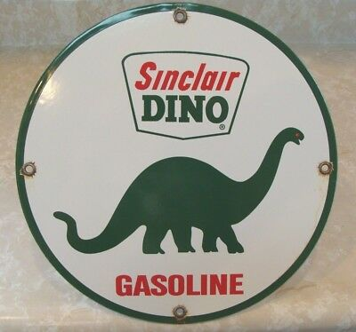 Vintage Sinclair Dino Gasoline Motor Oil Porcelain Gas Service Station Sign