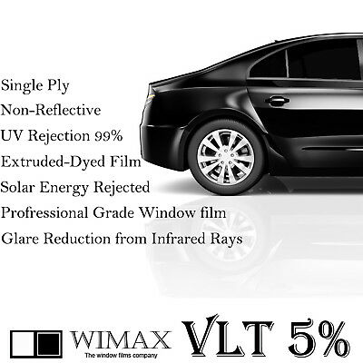 "Wimax Limo Black 5% VLT 40"" In x 50' Ft Feet Uncut Roll Window Tint Car Film"