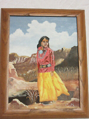VINTAGE portrait original hand painted oil PAINTING Native American Indian girl