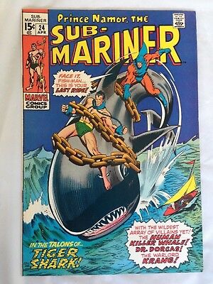 Sub-Mariner 24  Marvel 15 cents!  Tiger Shark!  Very Nice Copy!  PRICED TO SELL!