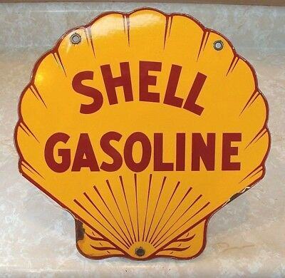 Vintage Shell Service Station Gas Pump Porcelain Sign