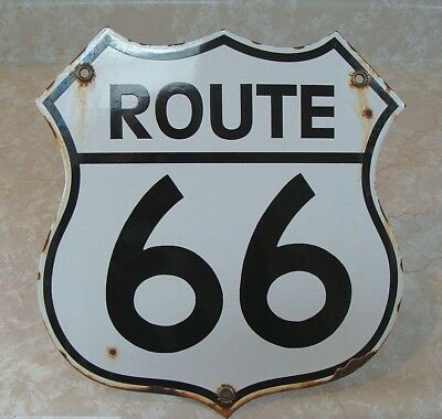 Route 66 Vintage  Porcelain  Highway  Street  Sign