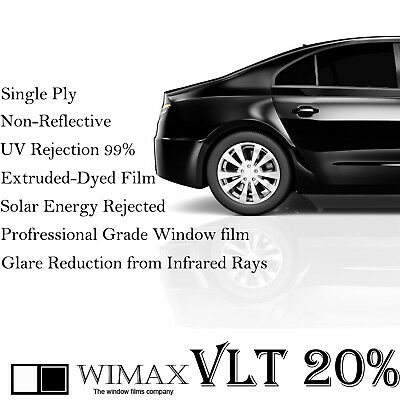 "Wimax Dark Smoke 20% VLT 24"" In x 50' Ft Feet Uncut Roll Window Tint Car Film"