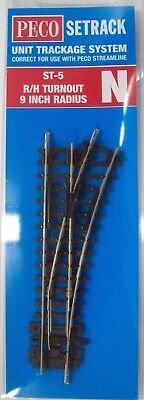 Peco St-5 N Scale Right Hand Turnout 9 Inch Radius