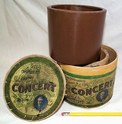 """Rare Vintage 5"""" Edison Concert Early Brown Phonograph Cylinder Record"""