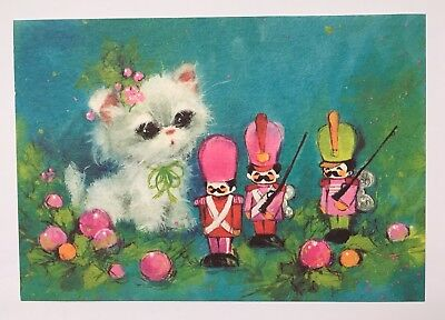 Vintage Christmas Card Front Cute White Kitty Pink Holly Ornament Toy Soldier A+