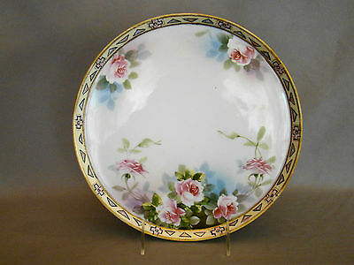Nippon Porcelain Hand Painted Pink Roses Round Tray
