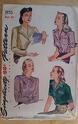 Vintage 1940s Simplicity Women's Blouse Sewing Pattern Bust 34