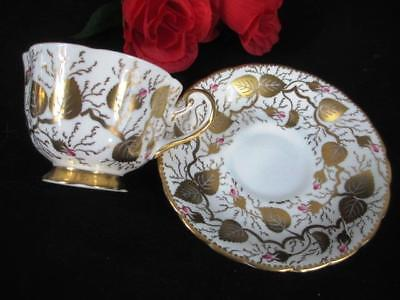 Vintage Royal Chelsea England Enameled Large Gold Leaves Cup and Saucer #193 A