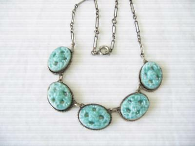 Antique Art Deco Gold Tone 5 Carved  Pale Turquoise Stone Choker Necklace