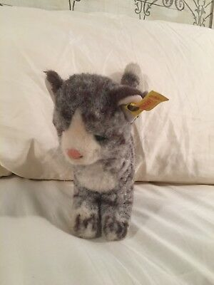 Steiff Tabby Kitty Cat Knitted Fur Plush ID Button  Vintage