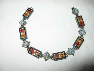 Antique Deco Nouveau  Italian Mosaic Bracelet-Tiny Detailed Links