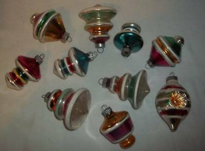 Vintage Lot Of 10 Shiny Brite Shaped Christmas Tree Ornaments