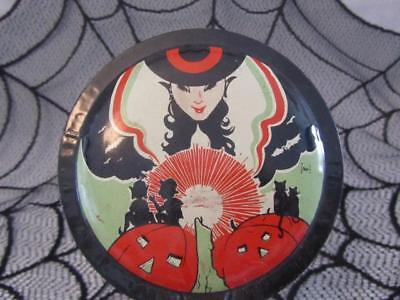 Vintage Halloween Noisemaker Metal Clanger Witch with Candle Cohn