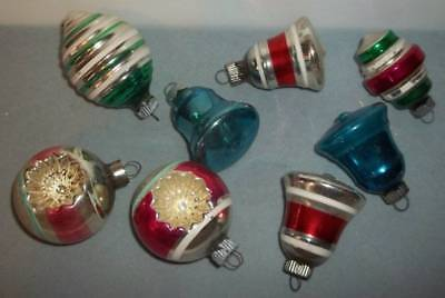 Vintage Lot Of 8 Small Shiny Brite Bell & Indent Christmas Tree Ornaments