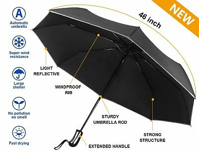 10 Ribs Stormproof Unbreakable Windproof Travel Umbrella Compact Auto Open Close