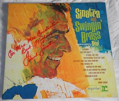 FRANK SINATRA Autograph SINATRA AND SWINGIN' BRASS LP Record 1962 FRONT COVER