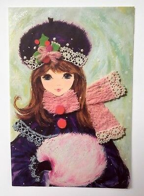 Vintage Christmas Card Front Pretty Girl Modern Pink Muff Purple Hat Snow Lace