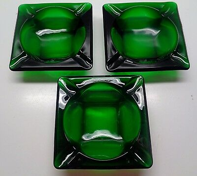 3 Forest Green Ashtrays Fire King Anchor Hocking  4 3/4""