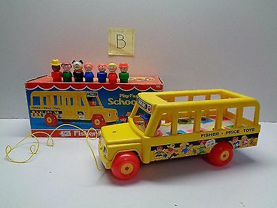 VINTAGE Fisher Price Little People #192 SCHOOL BUS - 100% COMPLETE WITH BOX #B