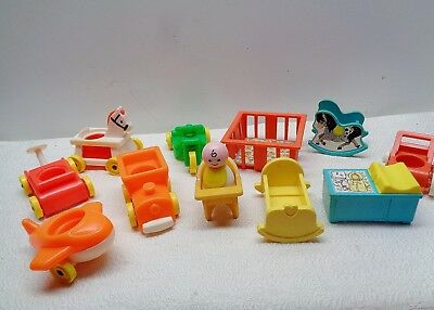 VINTAGE Fisher Price Little People PLAY FAMILY NURSERY & LIL RIDERS & BABY 100%