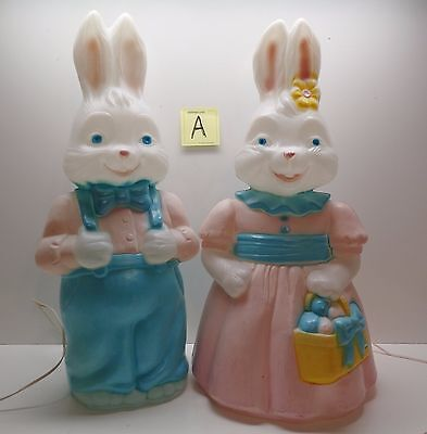 "2 Excellent Empire 25"" Easter Rabbit Bunny Boy And Girl Blow Molds & Cords Lot A"