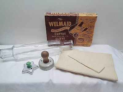 Vintage Welmaid Rolling Pin Pastry Cloth Cover & Glass Pin Screw On Cap Cutters