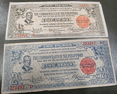 1942 Bacolod City commonwealth Philippines Emergency Currency 1 & 2 peso bills