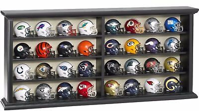 32 PIECE NFL Collector Speed Pocket MINI HELMETS with WOODEN DISPLAY Case *NEW*