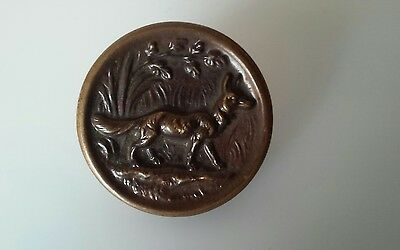 Vintage 1940s German METAL BUTTON~German Shepherd Dog Brass