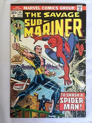 Sub-Mariner 69  Marvel 20 cents!  Spider-Man App.!  Nice Copy!  PRICED TO SELL!